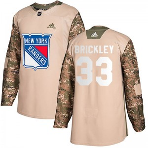 Youth Adidas New York Rangers Connor Brickley Camo Veterans Day Practice Jersey - Authentic