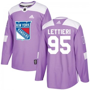 Men's Adidas New York Rangers Vinni Lettieri Purple Fights Cancer Practice Jersey - Authentic