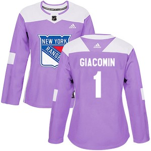 Women's Adidas New York Rangers Eddie Giacomin Purple Fights Cancer Practice Jersey - Authentic
