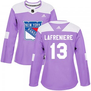 Women's Adidas New York Rangers Alexis Lafreniere Purple Fights Cancer Practice Jersey - Authentic