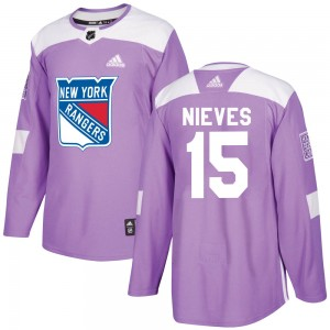 Youth Adidas New York Rangers Boo Nieves Purple Fights Cancer Practice Jersey - Authentic